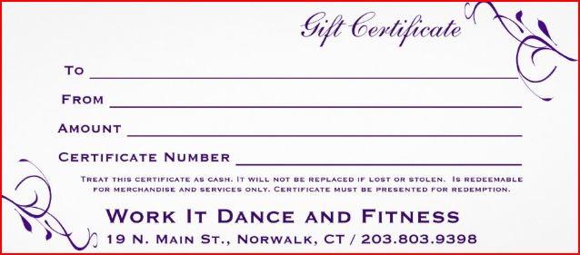 Gift Certificate Work It Dance and Fitness