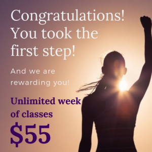 Picture of women with fist in air advertising $55 unlimited week package