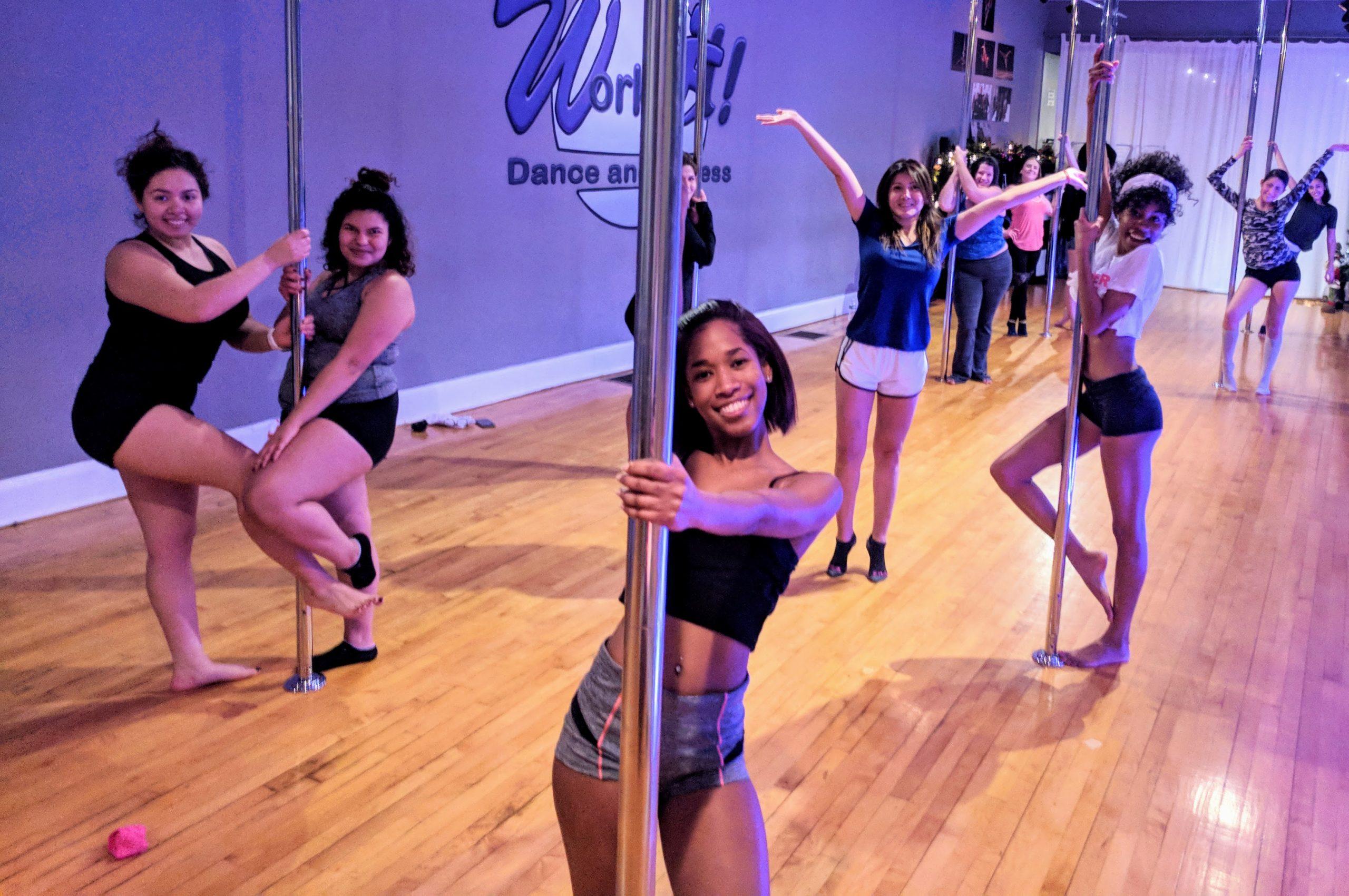 women in pole dancing class at Work It, Norwalk, CT